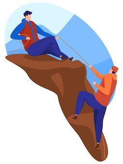 Dois homens escalam montanhas e se ajudam. alcançando o topo. estilo cartoon