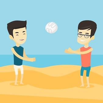 Dois homens jogando vôlei de praia.