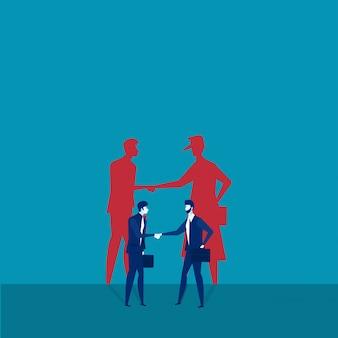 Dois, homens negócios, apertar mão, com, sombra