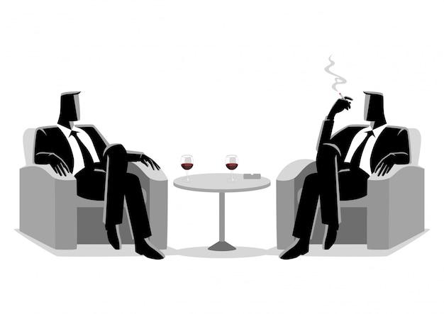 Dois, homens negócios, sentando, ligado, sofá