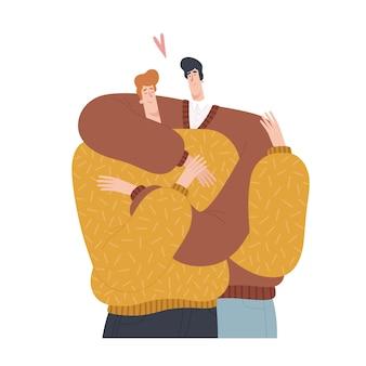 Dois homens se abraçam em design plano