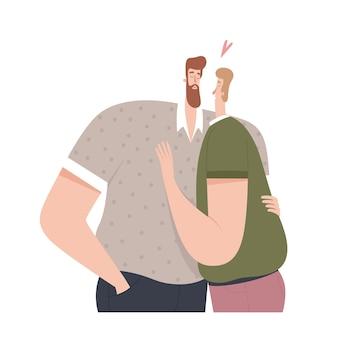 Dois homens se abraçando e se beijando em design plano