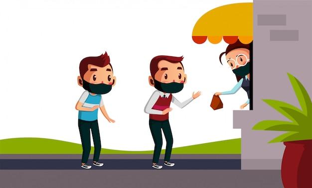 Dois homens usam máscara fazendo fila de distanciamento social para comprar sua comida.