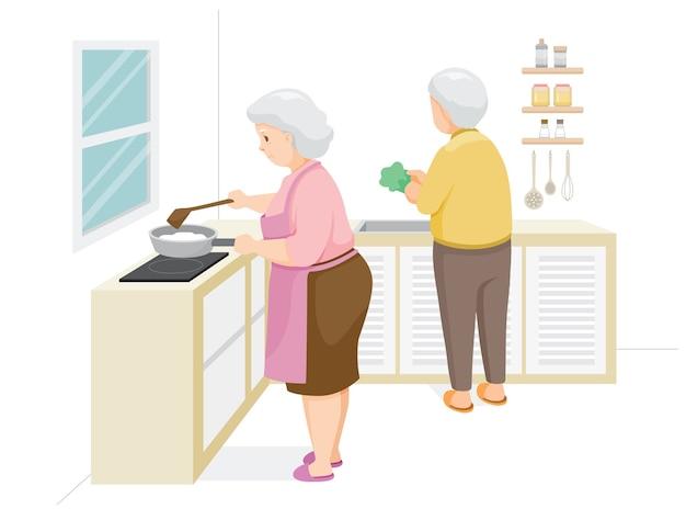Dois idosos cozinhando comida juntos, ficar em casa, ficar em segurança, auto-isolamento, proteção contra a doença do coronavírus, clvid-19, rotinas diárias da família