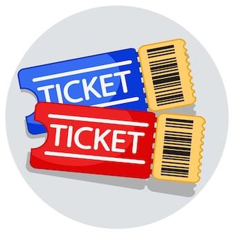 Dois ingressos com um código de barras em um fundo branco.