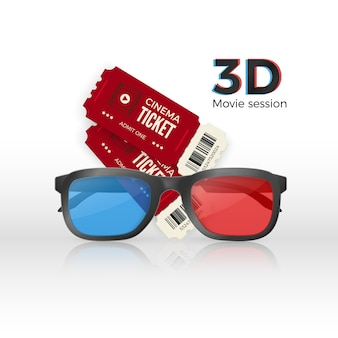 Dois ingressos de cinema e óculos 3d de plástico com vidro vermelho e azul