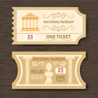 Dois ingressos para o museu vintage