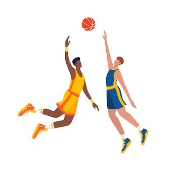 Dois jogadores de basquete em ação durante o jogo. ilustração plana.