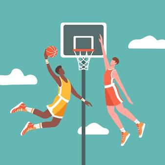 Dois jogadores de basquete em ação durante o jogo.