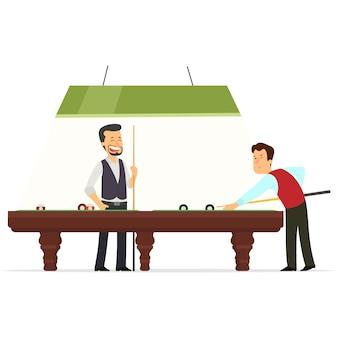 Dois jogadores jogam bilhar.