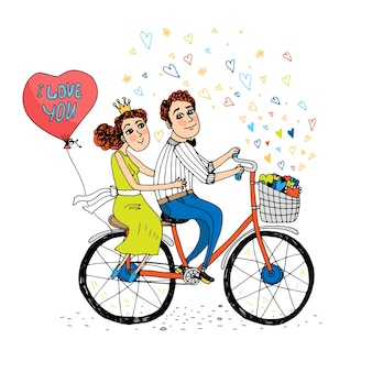 Dois jovens apaixonados andando de bicicleta tandem com um balão vermelho em forma de coração com as palavras