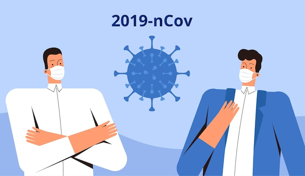 Dois jovens com máscaras médicas se levantam e observam o novo coronavírus 2019-ncov. conceito de controle de vírus covid-2019. plano