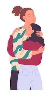 Dois jovens se abraçando ternamente