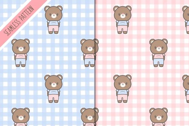 Dois kawaii bonito ursinhos sem costura padrão