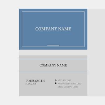 Dois lados do layout do modelo de cartão de visita horizontal nas cores azul e cinza.
