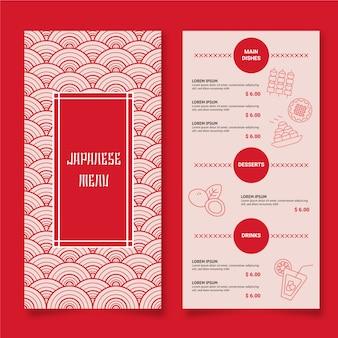 Dois lados do menu japonês
