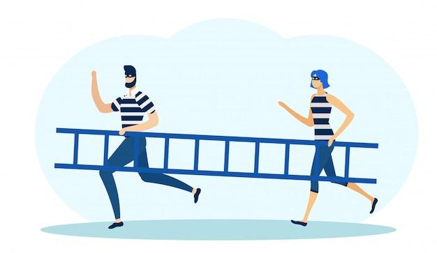 Dois, ladrões, em, máscaras, segurando, escada, e, executando