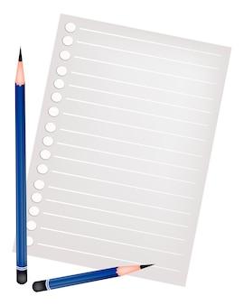 Dois lápis deitado em uma página em branco
