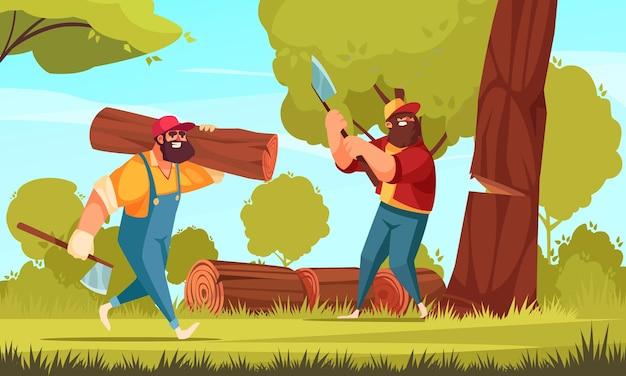 Dois lenhadores na floresta derrubando árvores com machados e empilhando toras na grama.