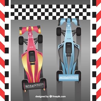 Dois linha de chegada de travessia de carro de corrida de fórmula 1