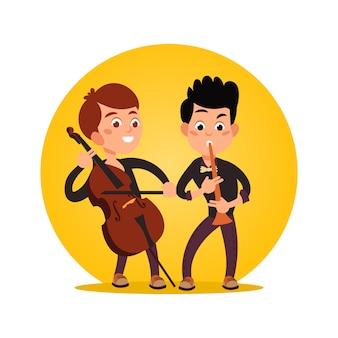 Dois, macho, adolescentes, tocando, clássico, instrumental, música
