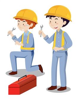 Dois mecânicos com caixa de ferramentas