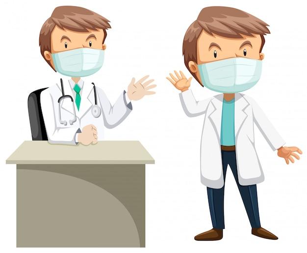 Dois médicos em vestido branco