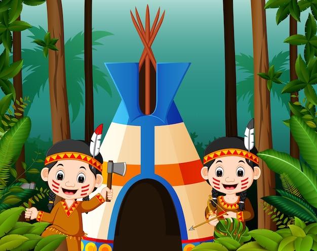 Dois, menina, americano, indianos, em, campsite