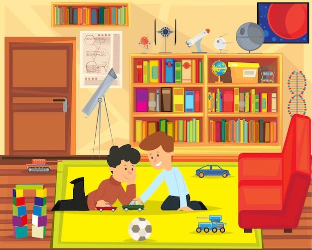 Dois meninos brincando com brinquedos na sala de jogos.