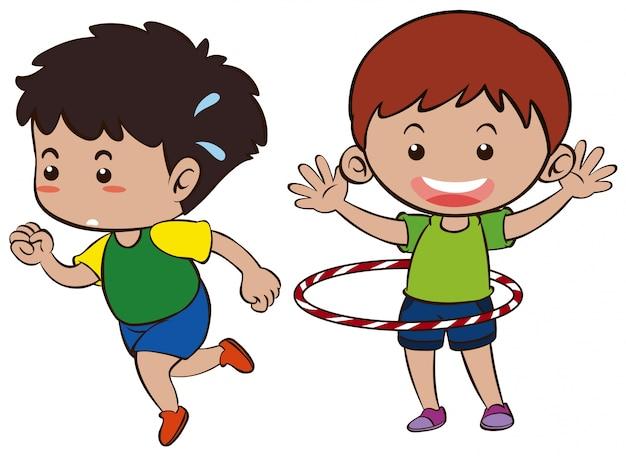 Dois meninos correndo e hula
