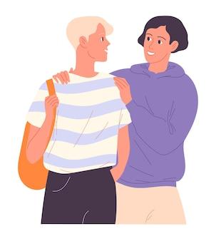 Dois meninos estão caminhando e um colocou o braço em volta dos ombros do outro.