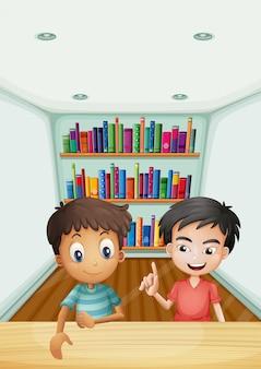 Dois meninos, frente, a, bookshelves, com, livros