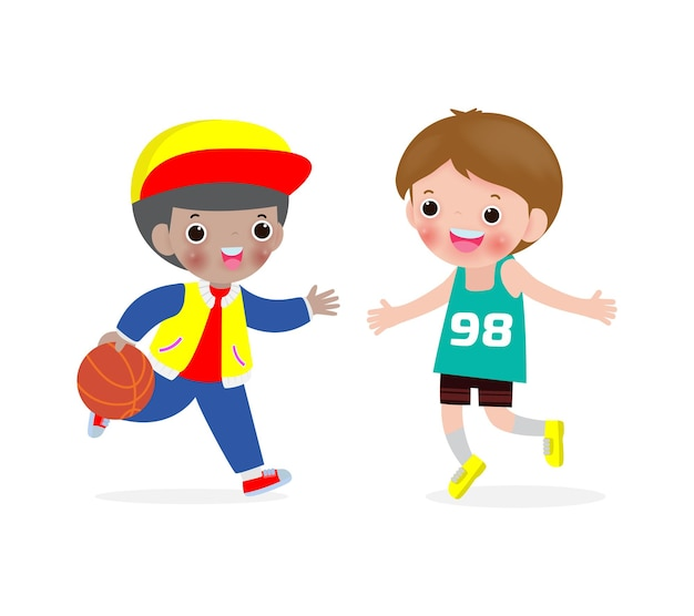 Dois meninos jogando basquete