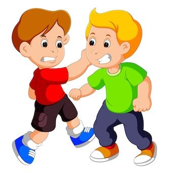 Dois, meninos jovens, luta