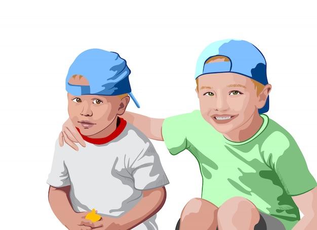 Dois meninos loiros em bonés azuis e camisetas sorrindo. abraçados