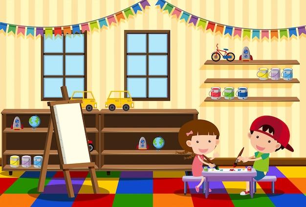 Dois meninos pintando na sala de aula