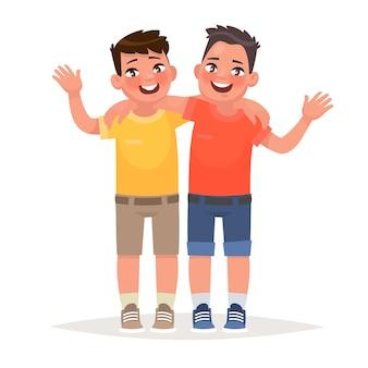 Dois meninos se abraçaram e acenaram com as mãos. melhores amigos. no estilo cartoon