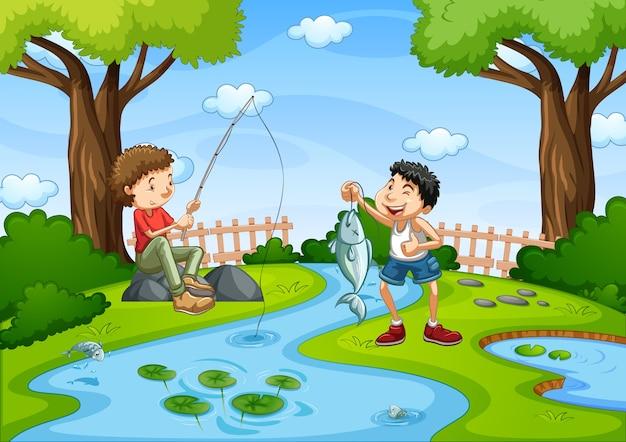 Dois meninos vão pescar na cena do riacho
