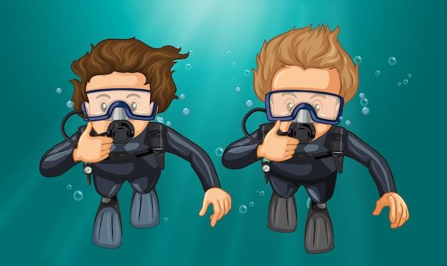 Dois, mergulhadores, fazendo, gesto mão, submarinas