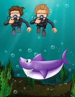Dois, mergulhadores, olhar, tubarão, submarinas