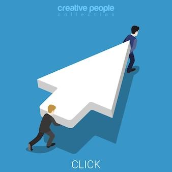 Dois micro empresários carregam um enorme ponteiro do cursor do mouse branco.