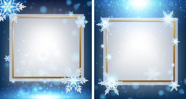 Dois modelos de beira com flocos de neve em segundo plano