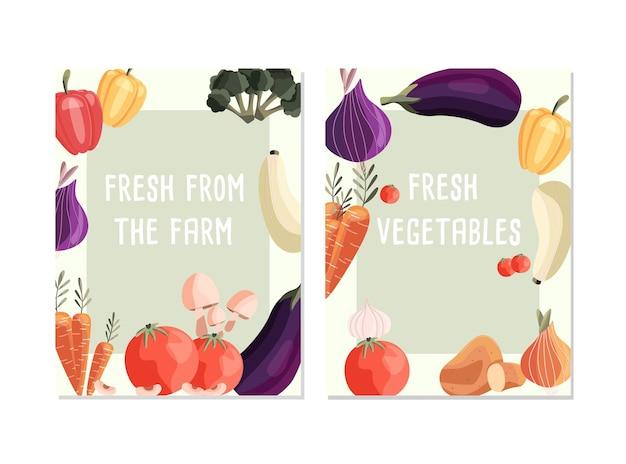 Dois modelos de pôster vertical com vegetais orgânicos frescos e lugar para texto