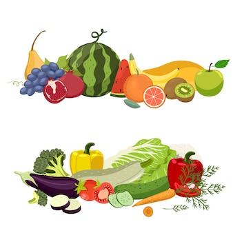 Dois montes de vegetais e frutas