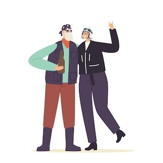 Dois motociclistas sênior em roupas de couro elegantes e capacetes com óculos, bebendo cerveja e curtindo a vida. personagens idosos estilo de vida ativo, passatempo, recreação. ilustração em vetor desenho animado