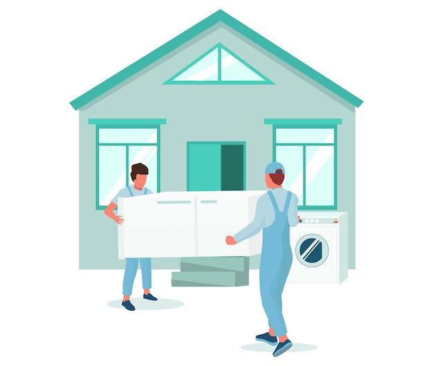 Dois motores carregando geladeira para casa ilustração vetorial realocação empresa em movimento elec ...