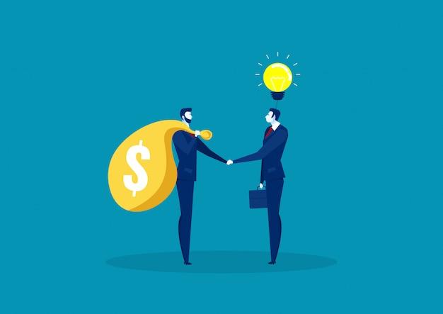 Dois negócios apertam a mão para negociar entre idéia e capital.