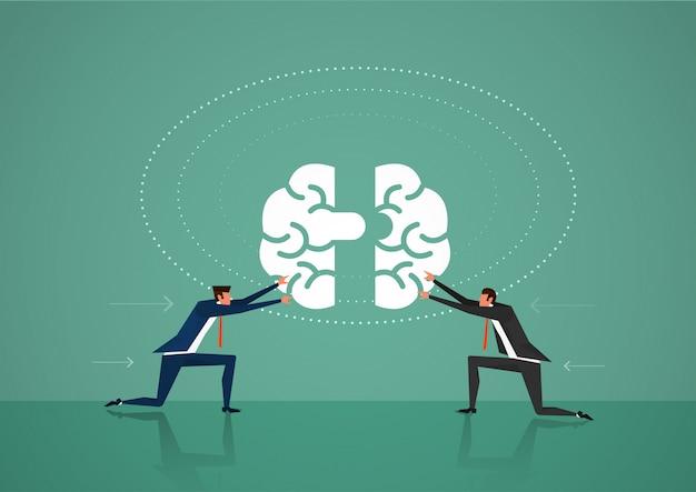 Dois negócios homem empurrar o cérebro para o conceito de comunicação, idéia, conhecimento, trabalho em equipe e educação