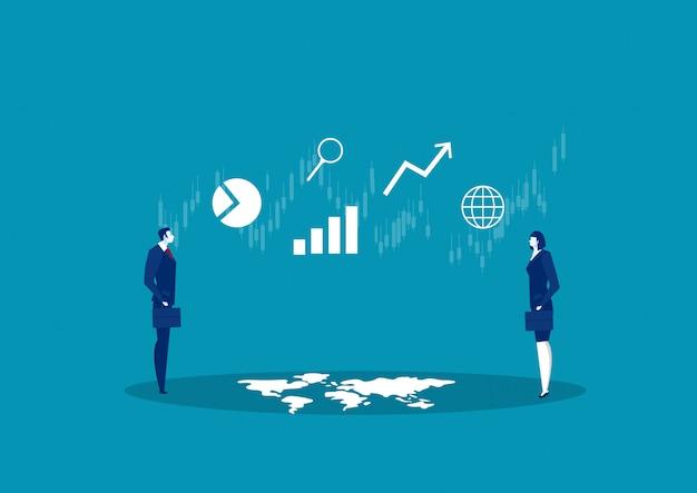 Dois negócios olhando o resultado do projeto de negócios, análise e estatísticas na representação visual