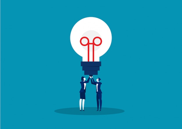Dois negócios segurando uma lâmpada de idéias. ilustração vetorial
